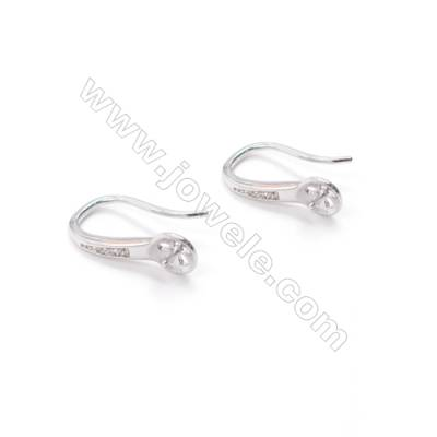 925 sterling silver platinum plated hook for earrings making  pave zircon  fit for half drilled beads  9x14mm x 1pair