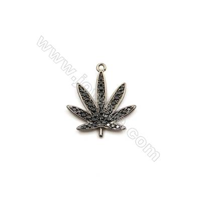 Brass Plated Gun Black Pendants  Leaves  CZ Micropave  Size 15x17mm  15pcs/pack