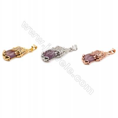 Brass Pendants  (Platinum Gold Rose Gold) Plated  Eggplant  CZ Micropave  Size 10x25mm  12pcs/pack