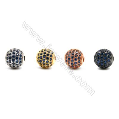 Brass Beads, (Gold, Platinum, Rose Gold, Gun Black) Plated, CZ Micropave, Round, Size 11mm, Hole 2mm, 8pcs/pack