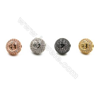 Brass Beads, (Gold, Platinum, Rose Gold, Gun Black) Plated, CZ Micropave, Round, Size 11mm, Hole 2mm, 6pcs/pack
