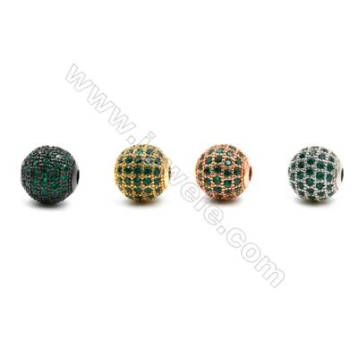 Brass Beads, (Gold, Platinum, Rose Gold, Gun Black) Plated, CZ Micropave (Green), Round, Size 10mm, Hole 2mm, 6pcs/pack