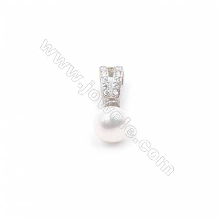 Zircon micro pave jewelry findings 925 silver platinum plated cup pearl bail pin pendant for half drilled beads  4x11mm x 1pc