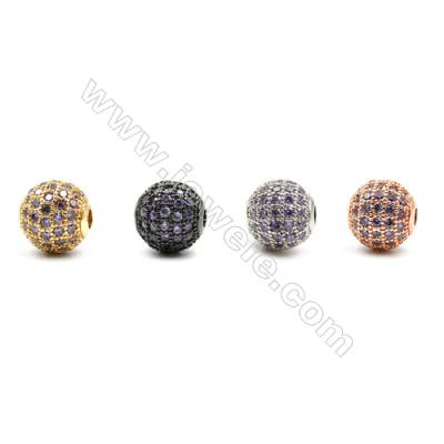 Brass Beads, (Gold, Platinum, Rose Gold, Gun Black) Plated, CZ Micropave (Purple)  Round, Size 10mm, Hole 2mm, 8pcs/pack