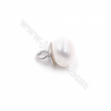 Jewelry findings 925 silver platinum plated cup pearl bail pin pendant for half drilled beads  6x9mm x 1pc