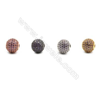 Brass Beads, (Gold, Platinum, Rose Gold, Gun Black) Plated, CZ Micropave (Purple), Round, Size 11mm, Hole 2.5mm, 4pcs/pack