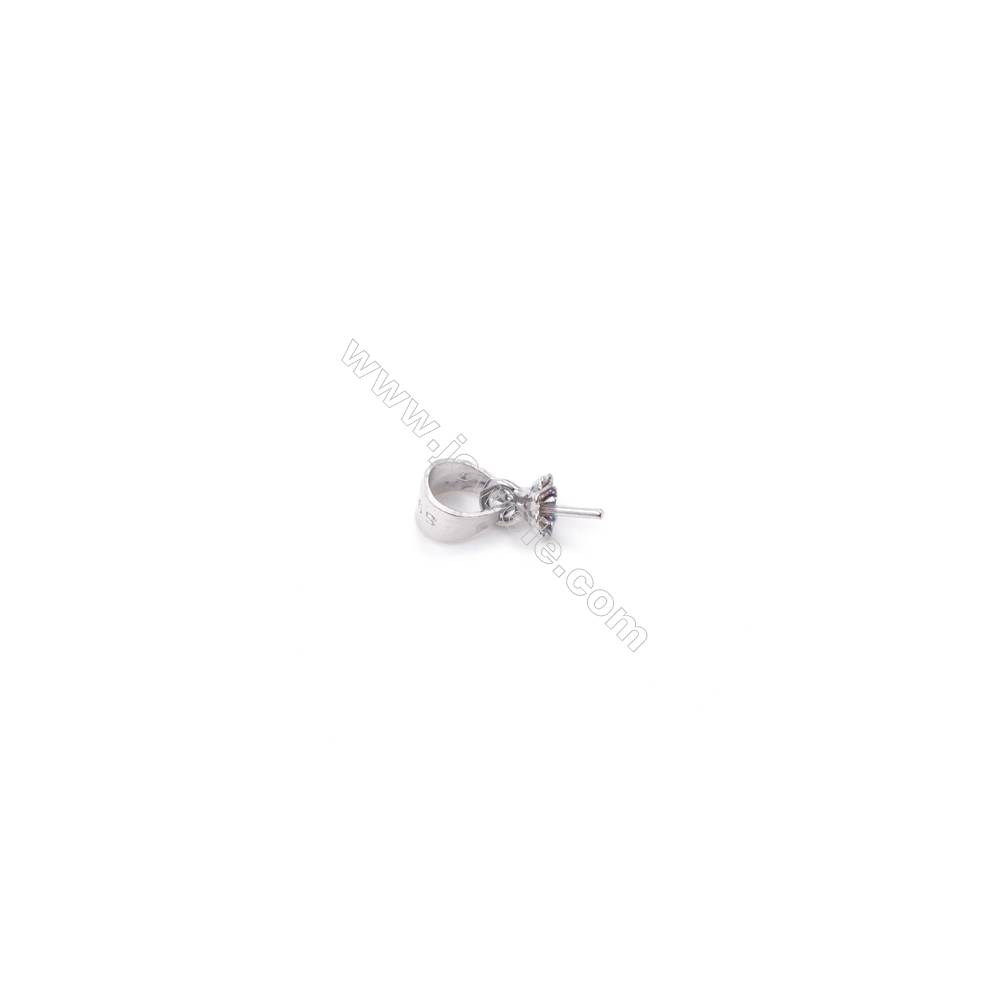 Wholesale jewelry findings platinum plated 925 sterling silver cup pearl bail pin pendant for half drilled beads  4x11mm x 1pc