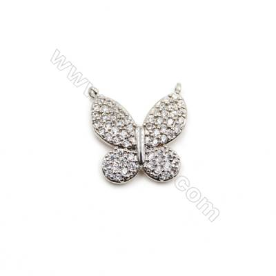 Brass Plated Platinum Connectors, Butterfly, CZ Micropave, Size 14x13mm, Hole 0.8mm, 12pcs/pack