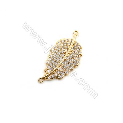 Brass Plated Gold Connectors, Leaf, CZ Micropave, Size 13x23mm, Hole 0.8mm, 12pcs/pack