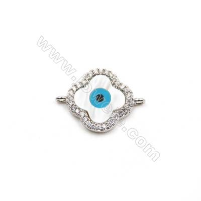 Brass Plated Platinum Connectors, Flower, CZ Micropave, Size 14x16mm, Hole 1.5mm, 8pcs/pack