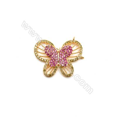 Brass Plated Gold Connectors, Butterfly, CZ Micropave, Size 20x25mm, Hole 1mm, 4pcs/pack
