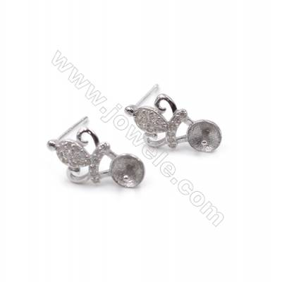 Zircon micro pave earring findings platinum plated 925 silver crown ear stud components for half drilled beads  9x15mm x 1pair