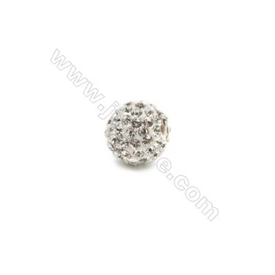 White Rhinestone Beads Set the Czech drill 95, Round, Size 10mm, Hole 1.5mm, 15beads/pack