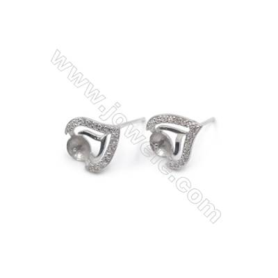 Platinum plated 925 sterling silver ear stud findings with zircon  Heart  tray for half drilled beads  10x11mm x 1pair