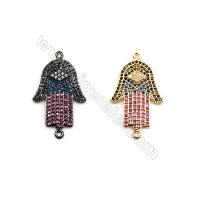 Brass Connectors, (Gold, Gun Black) Plated, Hand of God, CZ Micropave, Size 19x34mm, Hole 1mm, 7pcs/pack