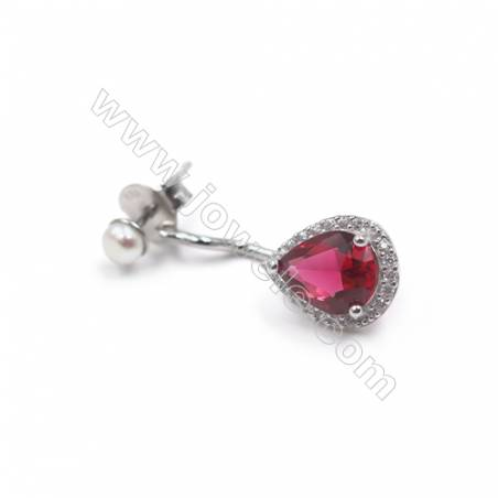 Platinum plated 925 sterling silver with zircon ear stud jewelry findings  Heart  tray for half drilled beads  10x26mm x 1pair