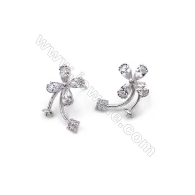 Platinum plated 925 sterling silver with zircon ear stud findings  four-leaf  tray for half drilled beads  10x15mm x 1pair
