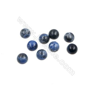 Natural Sodalite Cabochon  Round  Diameter 8mm  Thick 4mm  40pcs/pack