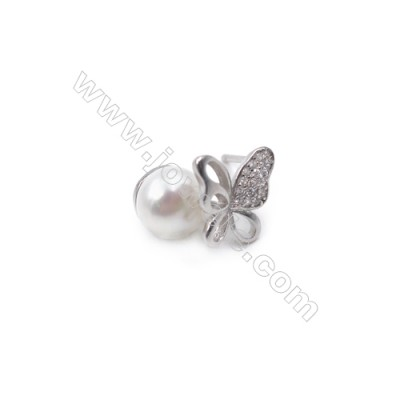 Platinum plated 925 sterling silver ear with zircon stud findings  butterfly  tray for half drilled beads  10x11mm x 1pair