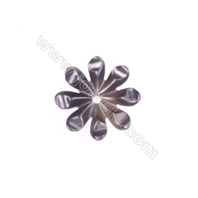 Gray flower-shaped mother-of-pearl shell, 10mm, x 30pcs & hole 0.8 mm