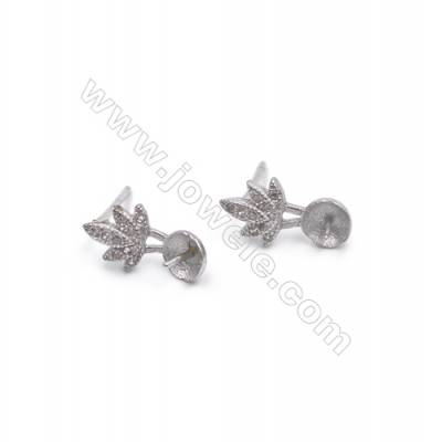 Platinum plated 925 silver earring stud findings with zircon micro pave  fit for half drilled beads  7x13mm x 1pair