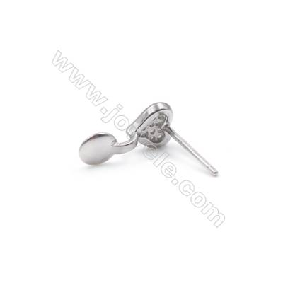 Platinum plated 925 silver stud earring findings with zircon  Heart  fit for half drilled beads  6x13mm x 1pair