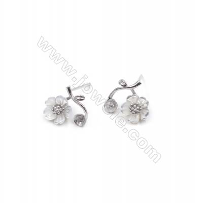 Platinum plated 925 sterling silver with zircon ear studs  Sakura  tray for half drilled beads  12x13mm x 1pair