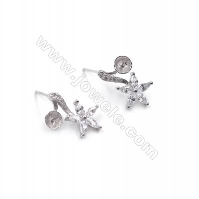 Floral platinum plated 925 sterling silver ear stud findings with zircon micro pave  fit for half drilled beads  9x14mm x 1pair