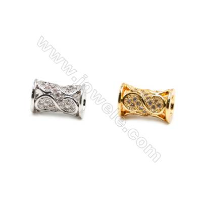 Brass Beads, (Gold, Platinum) Plated, CZ Micropave, Cylinder, Size 8x12mm, Hole 4mm, 15pcs/pack