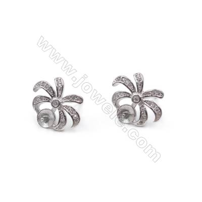Platinum plated 925 sterling silver ear studs with zircon  Coconut Palm  tray for half drilled beads  12x15mm x 1pair