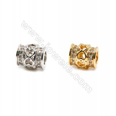 Brass Grand Hole Beads, (Gold, Platinum) Plated, CZ Micropave, Cylinder, Size 8x8mm, Hole 4mm, 15pcs/pack