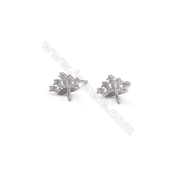Zircon micro pave jewelry findings platinum plated 925 silver crown ear stud findings for half drlled beads  8x10mm x 1pair