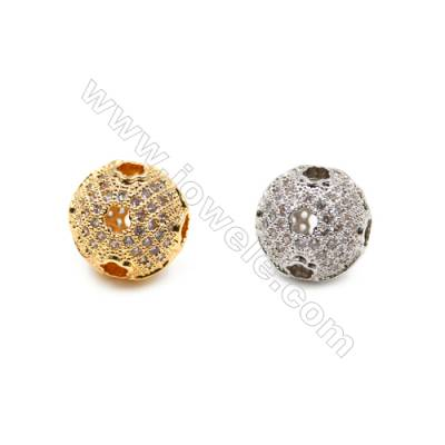 Brass Beads, (Gold, Platinum) Plated, CZ Micropave, Round, Size 10x11mm, Hole 1.5mm, 10pcs/pack