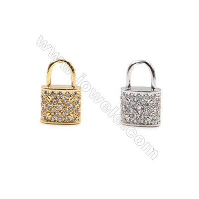 Brass Little Charms  (Gold Platinum) Plated  CZ Micropave  Lock  Size 11x18mm  15pcs/pack