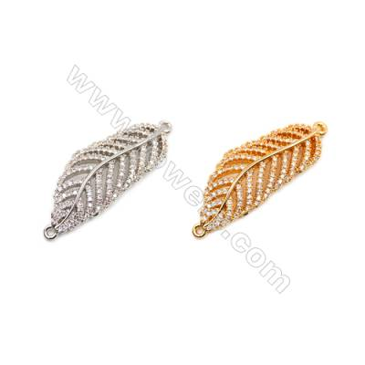 Brass Connectors, (Gold, Platinum) Plated, CZ Micropave, Size 35x13mm, Hole 1mm, 6pcs/pack