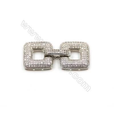 Brass Clasps  White Gold  CZ Micropave  Size 17x37mm  3pcs/pack
