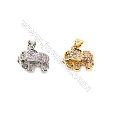 Brass Pendants  (Gold Platinum)Plated  Elephant  CZ Micropave  Size 12x14mm  12pcs/pack
