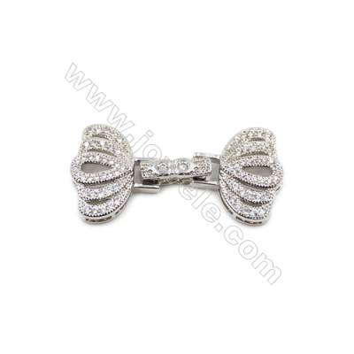 Brass Clasps  White Gold  CZ Micropave  Size 16x34mm  5pcs/pack
