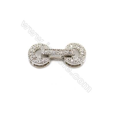 Brass Clasps  White Gold  CZ Micropave  Size 7x17mm  15pcs/pack