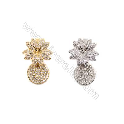 Brass Magnetic Clasps  (Gold Platinum)Plated  Flower  CZ Micropave  Size 16x26mm  4pcs/pack