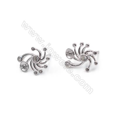 925 sterling silver with zircon ear stud jewelry findings  platinum plated  fit for half drilled beads 12x16mm x 1pair