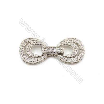 Brass Clasps  White Gold  CZ Micropave  Size 27x11mm  10pcs/pack
