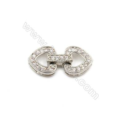 Brass Clasps  White Gold  CZ Micropave  Size 22x11mm  12pcs/pack
