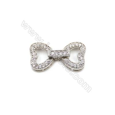 Brass Clasps  White Gold  CZ Micropave  Size 22x12mm  10pcs/pack
