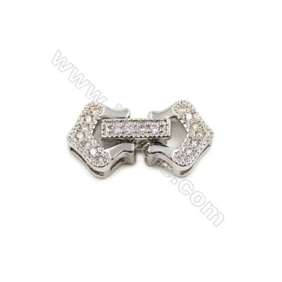 Brass Clasps  White Gold  CZ Micropave  Size 20x10mm  12pcs/pack