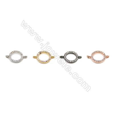 Brass Connectors, (Gold, Platinum, Rose Gold, Gun Black) Plated, Oval, CZ Micropave, Size 8x14mm, Hole 1mm, 20pcs/pack