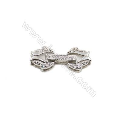 Brass Clasps  White Gold  CZ Micropave  Size 19x8mm  15pcs/pack