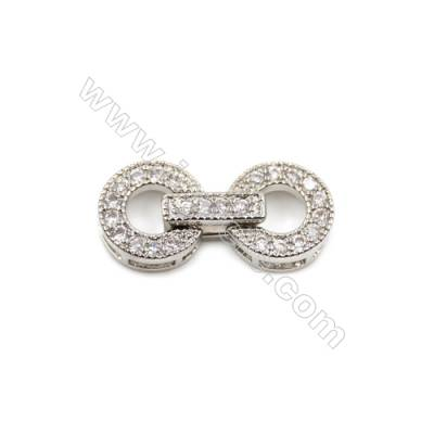 Brass Clasps  White Gold  CZ Micropave  Size 20x9mm  12pcs/pack