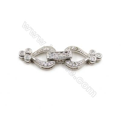 Brass Clasps  White Gold  CZ Micropave  Size 29x8mm  12pcs/pack