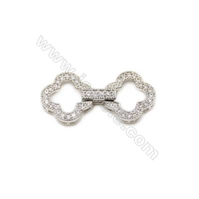 Brass Clasps  White Gold  CZ Micropave  Size 30x14mm  10pcs/pack